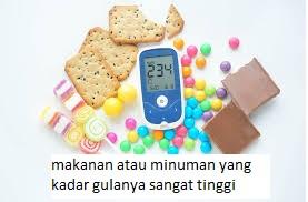 makanan atau minuman yang kadar gulanya sangat tinggi
